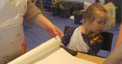 Moms Kids Are Going to Paint in Art Gallery Kindergarten Classroom Educators Stock Footage