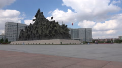 Ordos town hall, Genghis Khan memorial, ' ghost city ' China Stock Footage