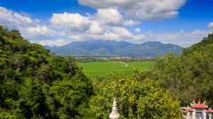 Upper of Valley Landscape Pagoda Hills in Vietnam Clouds Motion Stock Footage