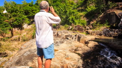 Old Man Photos Rocky Cave Mountain River Waterfall by Pagoda Stock Footage