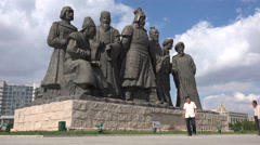 Chinese tourists visit Genghis Khan statues in ghost town Ordos - stock footage