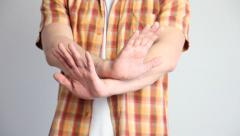 Young man demonstrating a refusal  gesture Stock Footage