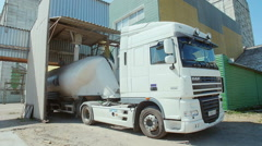 A truck loaded with flour in the factory on processing grain Stock Footage