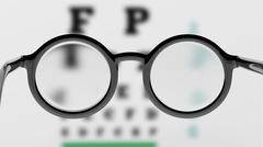Pair of round-lens eyeglasses with eyesight test and blur - stock illustration