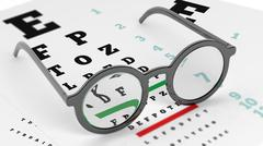 Pair of round-lens eyeglasses set on eyesight test with letters and numbers Stock Illustration