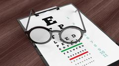 Eyeglasses on tablet with eyesight test on screen, set on wooden surface. Stock Illustration