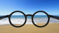 Closeup on eyeglasses with focused and blurred seascape view. Stock Illustration