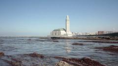 View on seafront of Grande Mosquée Hassan II in Casablanca, Morocco. Stock Footage