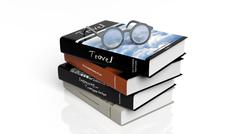 Eyeglasses set on stack of books,isolated on white background. - stock illustration