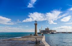 Mandraki Harbour, Rhodes Greece Stock Photos