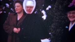 1948: Catholic nuns school graduation proud happy family. Stock Footage