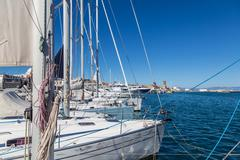 Boats in harbor, Rhodes Greece - stock photo