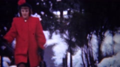 1948: Formal red coat fashion dress on wealthy women in wintertime. Stock Footage