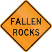 United States MUTCD road sign - Fallen rocks - stock illustration