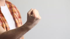 Man demonstrating his strong fist Stock Footage