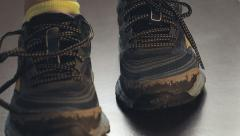 Lacing sneakers to run - stock footage