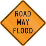 United States MUTCD road sign - Road may flood Stock Illustration
