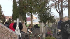Cemetery near church, memory on people who have died. Panorama. 4K Stock Footage
