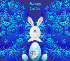 Easter composition with the hare - stock illustration