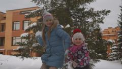 Chidren play snowballs - stock footage
