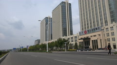 Quiet roads, modern office building Bank of Ordos, Chinese ghost city Stock Footage