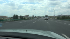 Driving a taxi towards Ordos in China Stock Footage