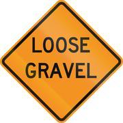 United States MUTCD road sign - Loose gravel - stock illustration