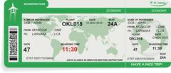 Vector illustration of airline boarding pass - stock illustration