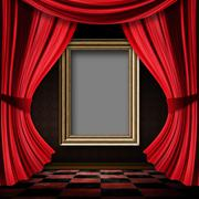 Red curtain room with wooden frame - stock illustration