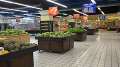 Empty supermarket, fresh products, eerie atmosphere, Chinese ghost city Ordos Stock Footage