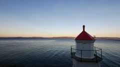 Lighthouse near a fjord in norway, Trondheim Stock Footage