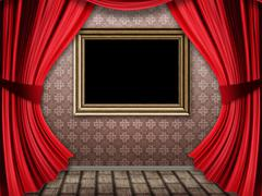 Room with red curtains and frame - stock illustration