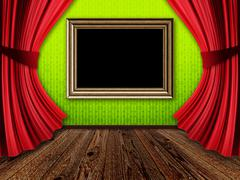 Room with red curtains and frame Stock Illustration
