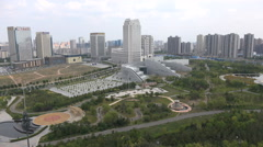 Overview of a business district in Ordos, a well known 'ghost city' in China Stock Footage
