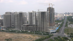 Empty construction site, office towers, buildings, Chinese ghost city Ordos Stock Footage