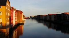 Famous wooden colored houses in Trondheim city, Norway Stock Footage