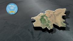 Mopti-Mali with Coat of arms animation map Stock Footage