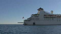 Beautiful view of a big ship navigating on the Adriatic Sea in Dubrovnik - stock footage