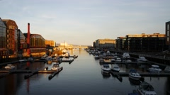 Winter view of a marina in Trondheim Stock Footage