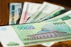 Banknote of five thousand Uzbekistan sums close up - stock photo