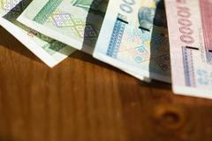 Banknote background, Belarusian rubles close up - stock photo