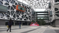 Binjiang campus of the Alibaba corporation in Hangzhou, China - stock footage