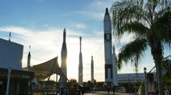 Rocket Garden at Sunset at Kennedy Space Center Wide, 4K Stock Footage