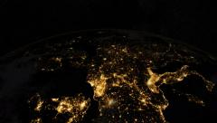 Europe from space. At night. Earth From Space. Stock Footage
