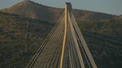 Franjo Tudjman Bridge's top seen at sunset in Dubrovnik, Croatia Stock Footage