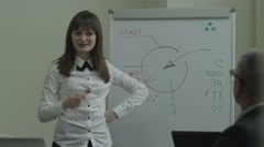 Businesswoman giving a presentation with a board in friendly office Stock Footage