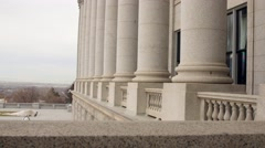 Granite pillars at Utah State Capitol Building dolly shot Stock Footage