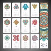 Vector Calendar 2016 - stock illustration