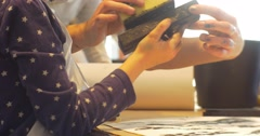 Kids Parents Are Playing Rubber Stamps Art Gallery People Paint in Kindergarten Stock Footage