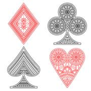 Poker set in ethnic style - stock illustration